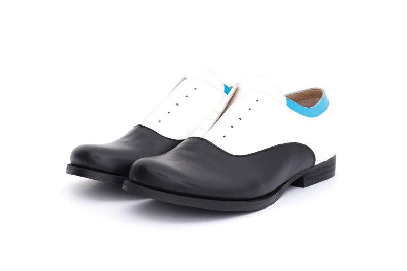 e5b7c5b649d19 Black and white women's shoes leather oxfords handmade adikilav