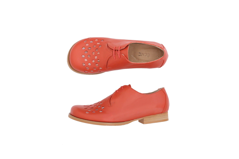 72b5bb32267b2 Women's shoes , Burnt orange Leather Flats handmade wide shoes with  geometric circles cutout , ADIKILAV , free shipping