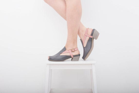 heel sandals leather sandals shipping toe free t Women's and peep pink low adikilav handmade strap gray FqwnRa