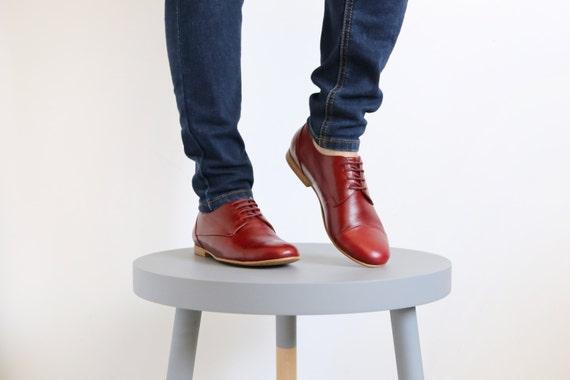 en Womens Bourgogne shoes plat fait cuir qv8EF0
