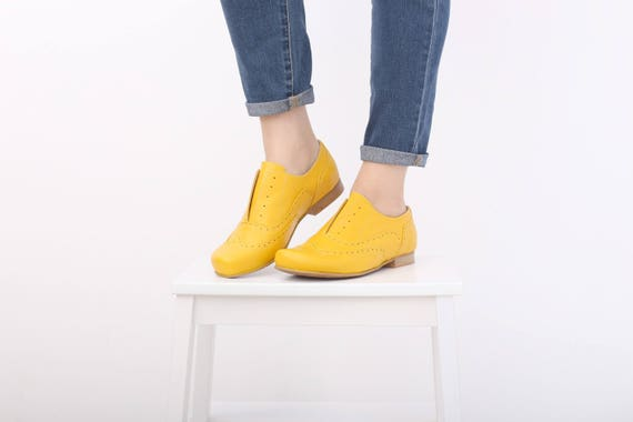 wide ADIKILAV shoes handmade shoes leather Women's shoes oxfords free Leather Yellow shippping flats vAxTfIqvw