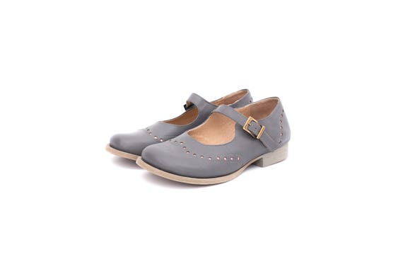 flats shoes wide and ADIKILAV handmade pink brogues shipping leather free gray Jane Mary Women's wUx0qzt0