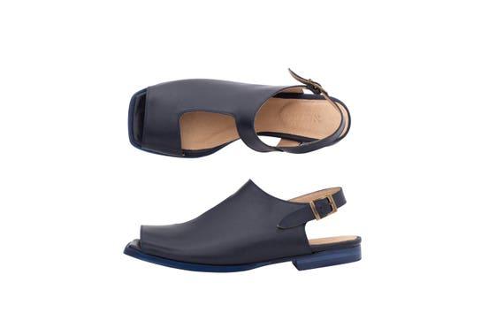 cutout blue Navy flat geometric handmade adikilav square sandals sandals toe Sandals slingbacks Women's Leather free shipping Bzw1qBn