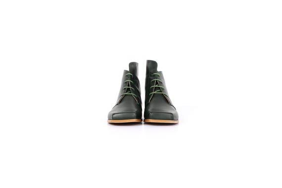 Large plat bottines chaussures en de cuir bottes vertes rpdqCrw