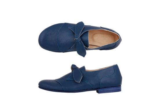 8cdb0a8b86aa17 Leather Shoes blue women s flats handmade ADIKILAV ON
