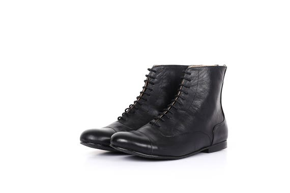 Black boots black Booties shoes flat