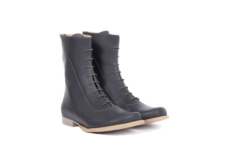 c3c6b8d9017 Flat leather Boots gray mid calf lace up Boots, Handmade Womens winter  shoes, ADIKILAV