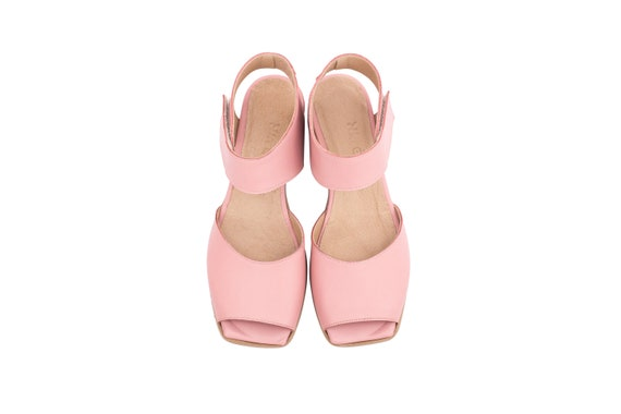 sandals with and Ankle shipping Sandals strap fastener loop strap pastel handmade hook heel free pink Women's low Leather adikilav pz5zPRnq