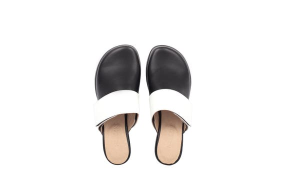 toe strap white close Black handmade shoes with shipping slides leather adikilav mules flat mule wide free xIPaXPq