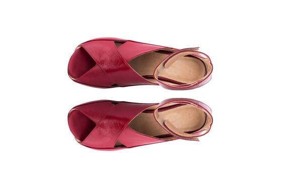 cuir boucle crochet des En cross cheville talons large bas sandales sandales sandales et criss fait Bourgogne de bracelet 6qqwF7xd