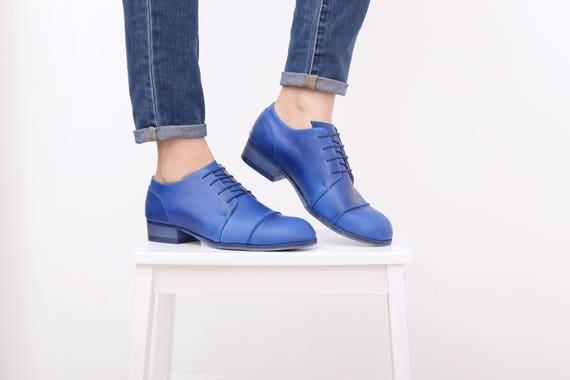 44e6482d41ed34 Blue women s shoes handmade leather shoes womens tie