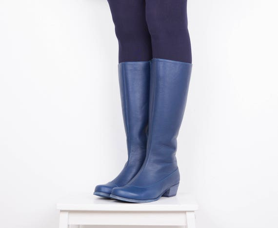 handmade free Leather Boots women's shipping Boots wide heels ADIKILAV riding Blue winter Bgqp0wqS