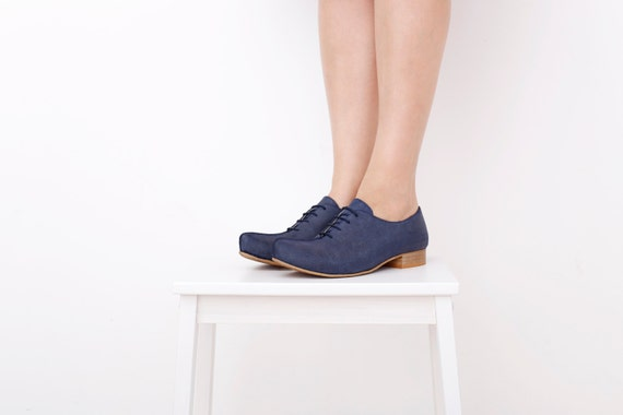boho ON blue leather shoes ADIKILAV shoes navy Womens SALE Pointy handmade RHzXqxzw