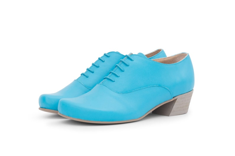 6af8c64382292 Light blue womens shoes , low heel wide leather shoes with handmade free  shipping ADIKILAV