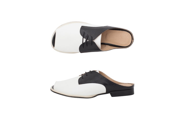 0b2a40e54e650 Womens slides sandals Black and white Leather lace up handmade women's  shoes ADIKILAV free shipping