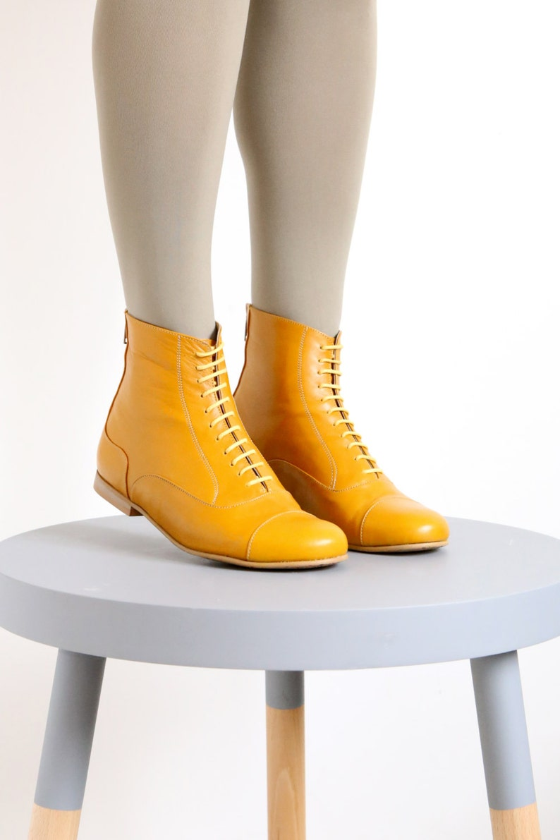 Yellow Leather Booties shoes flat Boots mid calf handmade image 0