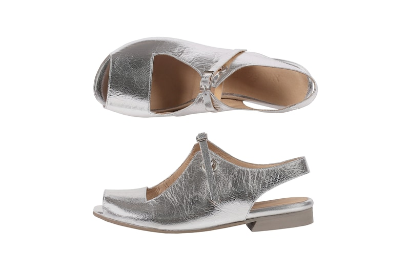 37a7890708d Wedding sandals flat sliver leather open toes