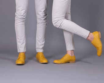 Yellow shoes , Women's yellow leather shoes handmade  free shipping , ADIKILAV