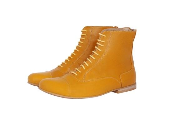 de gratuite Livraison bottes cuir en plates fait mollet bottines Chaussures jaunes mi aTnwnUFRq