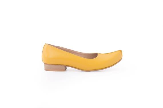 ballerines fait cuir femme chaussures jaune pointed Les de mocassins toe femmes w0acOq