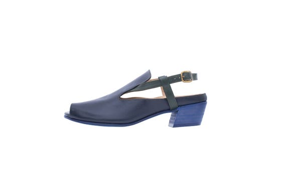 sandals heel low toe shipping blue free Navy handmade sandals adikilav peep leather Women's xCaWXW8nqw