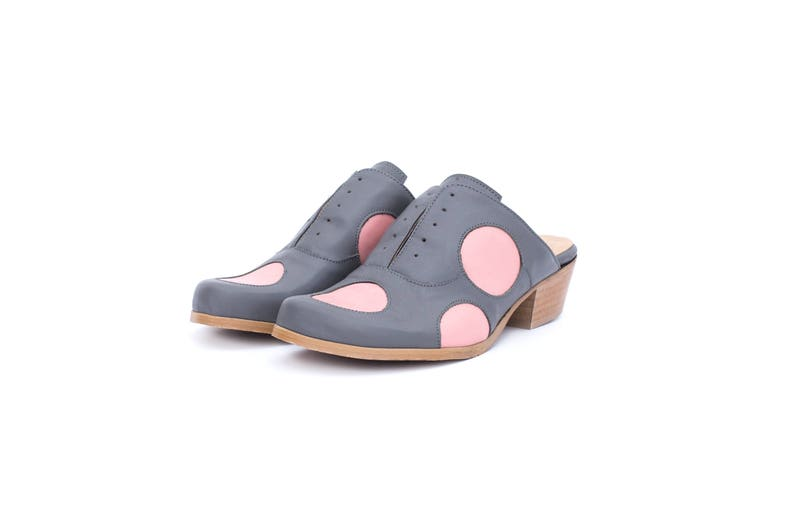 e74abf2dac1f Womens Mules slides low heel gray and pink polka dots leather