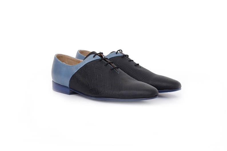 791894c2f5aeb Womens shoes pointy flats , Blue black leather shoes wide , handmade unique  shoe , ADIKILAV , new free shipping