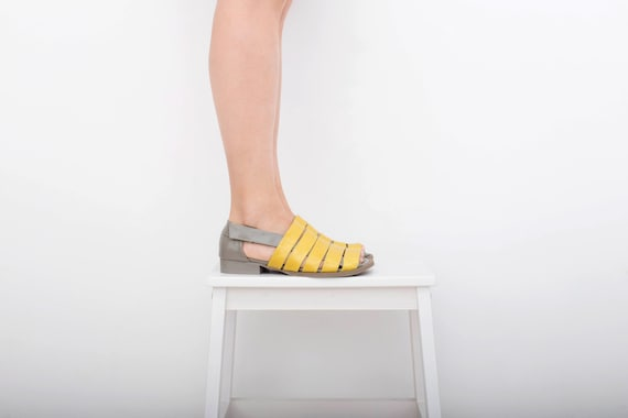 toe strappy gray with flat Leather and with Sandals wide Yellow straps shipping peep women's sandals free handmade Yq851w