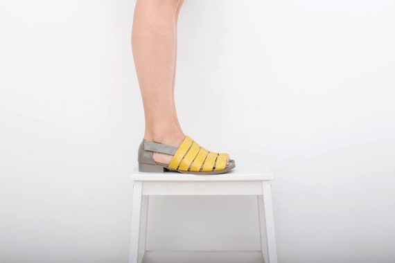 Sandales gris et en jaune peep orteils cuir lani rTqrIBzw