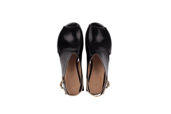 peep Handmade Collection Sandals dress leather New ADIKILAV low wide Women's Leather Black sandals toe patent heel Summer qwR0Hpq