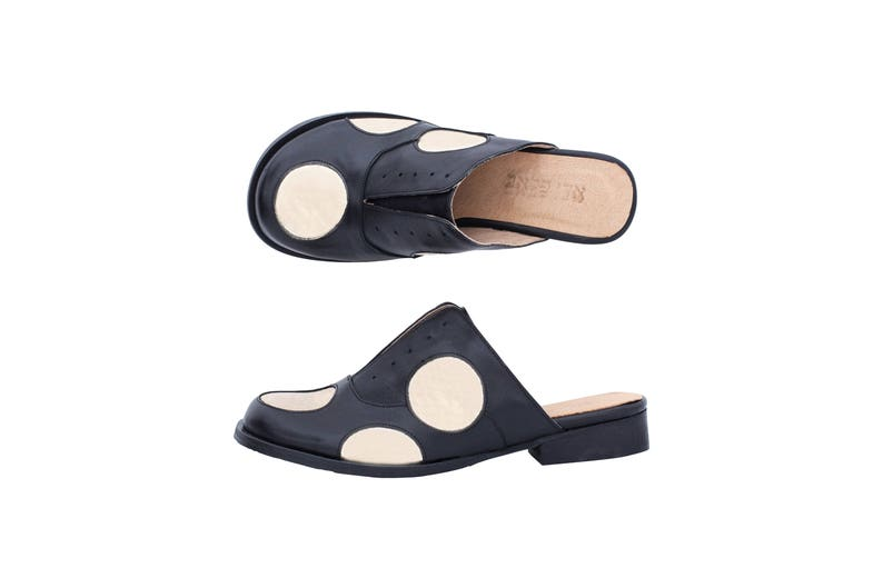 black and gold polka dots open back shoes handmade adikilav free shipping Flat mules slides wide women/'s leather shoes