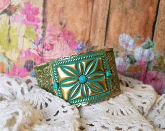 Southwestern Concho Leather Cuff Bracelet> Native Style/ Boho Bracelet/ Country Chic/ Rustic/ Wristband/ Turquoise Green
