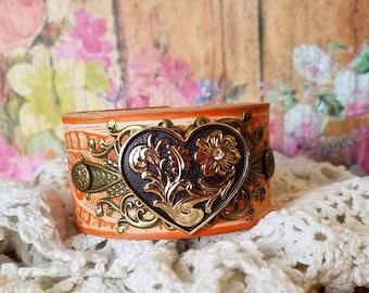 FloRaL HeArT Concho Leather Cuff Bracelet> Heart Jewelry/ Heart Bracelet/ Boho Bracelet/ Country Chic/ Rustic Romance/ Wristband/ Orange