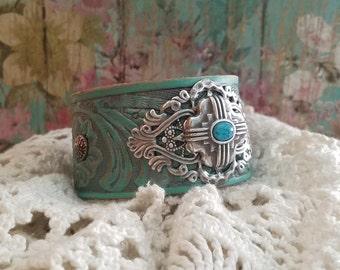Silver NaTive Concho Turquoise Leather Cuff Bracelet> Wristband/ Bangle/ Southwestern/ Boho Bracelet/ Country Gypsy/ Cowgirl Jewelry/ Cross