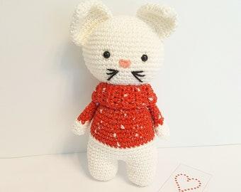 Léo le chat amigurumi, chat au crochet, jouet en coton fait main