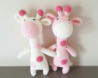 Amigurumi giraffe toy, handmade pink and white giraffe, baby lovey