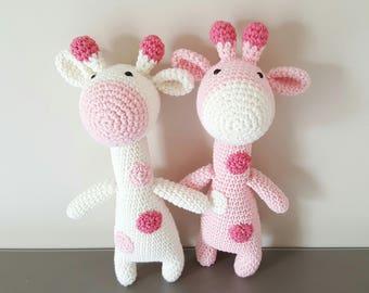 Doudou girafe fait main coton rose et blanc