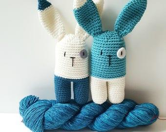 Baby handmade  blue rattle amigurumi rabbit
