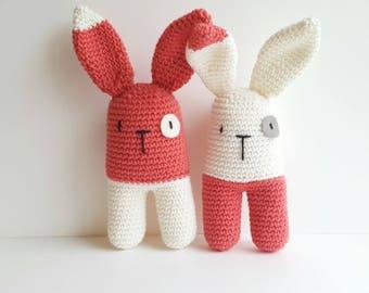 Baby handmade rattle amigurumi coral coloured rabbit