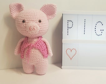 Baby lovey handmade amigurumi piggy, crochet baby little pig, birth gift