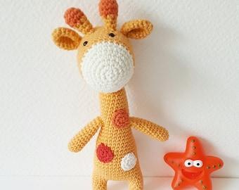 Doudou girafe fait main jaune orange coton