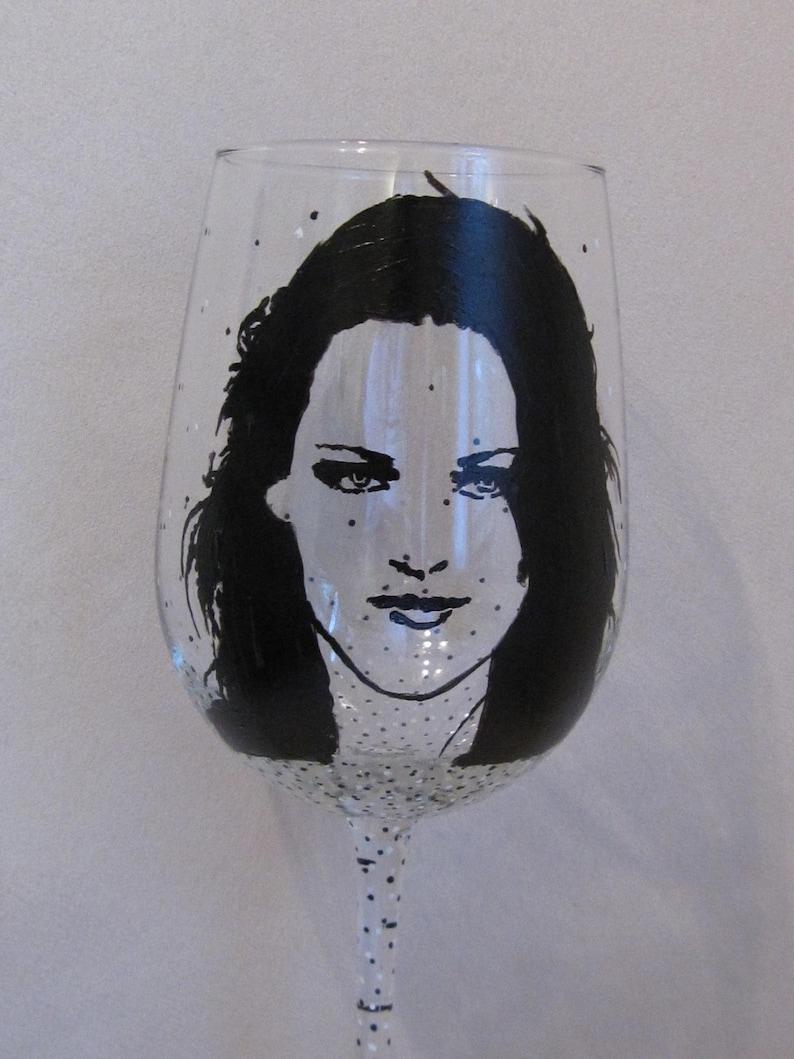 Hand Painted Wine Glass Actress Kristen Stewart