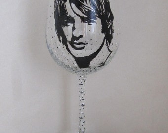 Hand Painted Wine Glass - OWEN WILSON, Actor, Screen Writer