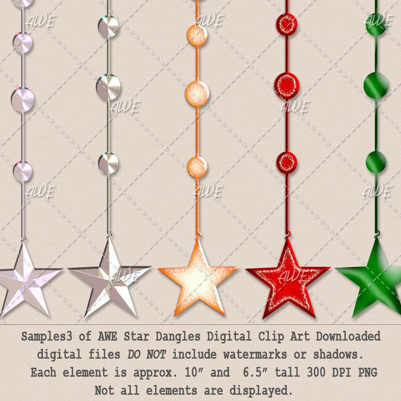 Stringed Stars Textured 65 total PNGs High Quality Star Dangles Digital Clip Art by AwesomeScrapper 300 DPI PNGs Jeweled