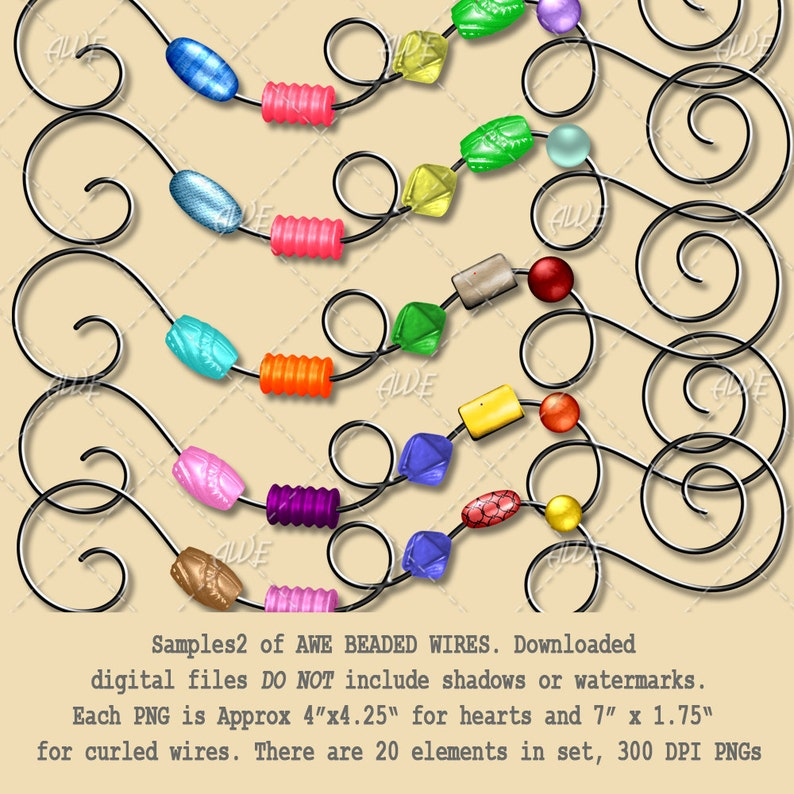 Digital Clipart Beaded Wires Hearts and Curls Elements  Multi color 300 DPI PNGs