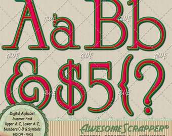 Summer Fest Digital Alphabet by AwesomeScrapper - High Quality, 300 DPI PNGs.  Melon, Chartreuse and Grass Green.  Complete Set.