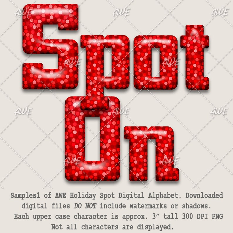 High Quality Bright Glossy Holiday Spot Digital Alphabet by AwesomeScrapper Red Mono Color Bold Dots Holiday 300 DPI PNGs