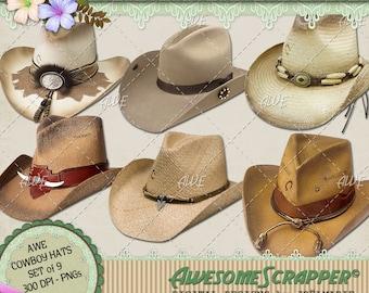 Digital Clipart - Cowboy Hats, Various Colors, Set of 9 transparent backgrounds, High Quality 300 DPI PNGs