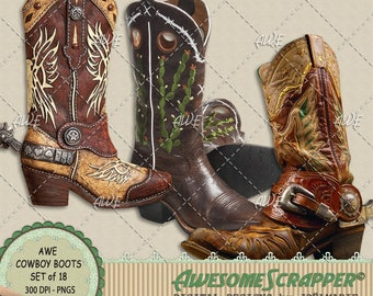 Cowboy Boots Digital Clipart by AwesomeScrapper - Set of 18, Western Boots, Individual High Quality, 300 DPI PNGs on Transparent Backgrounds