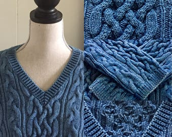 Vintage Cotton Cable Knit Sweater ...Free Shipping